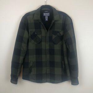 American Rag Green & Black Plaid Button Down